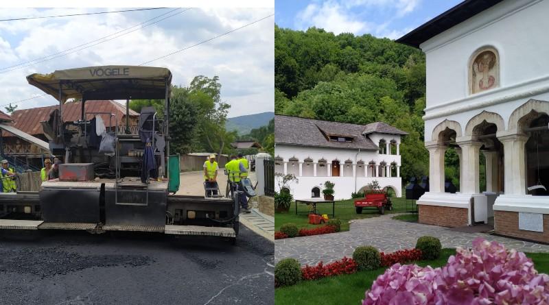 (Galerie FOTO şi VIDEO). S-a turnat primul strat de asfalt pe drumul spre Mănăstirea Surpatele